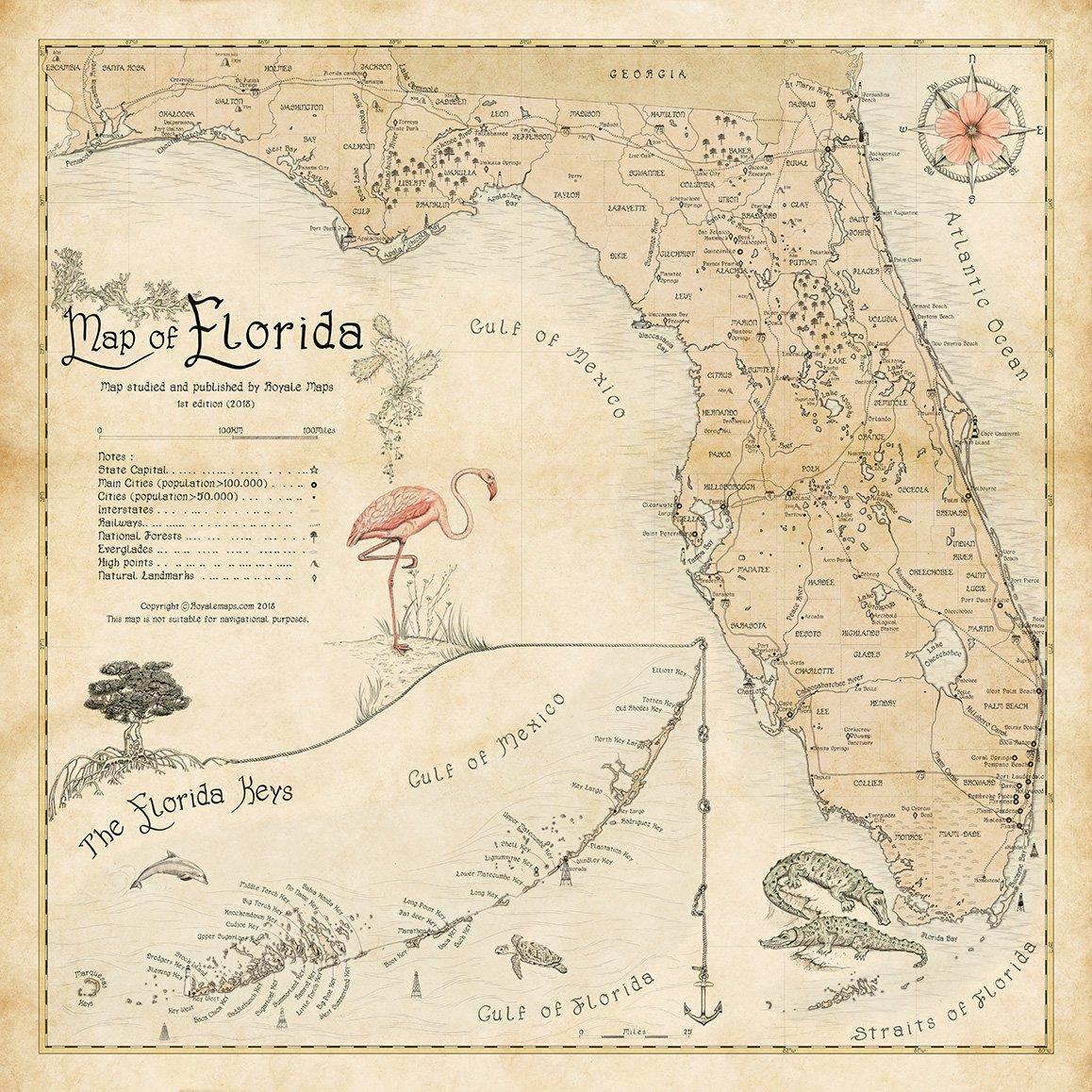 Florida State Map Print