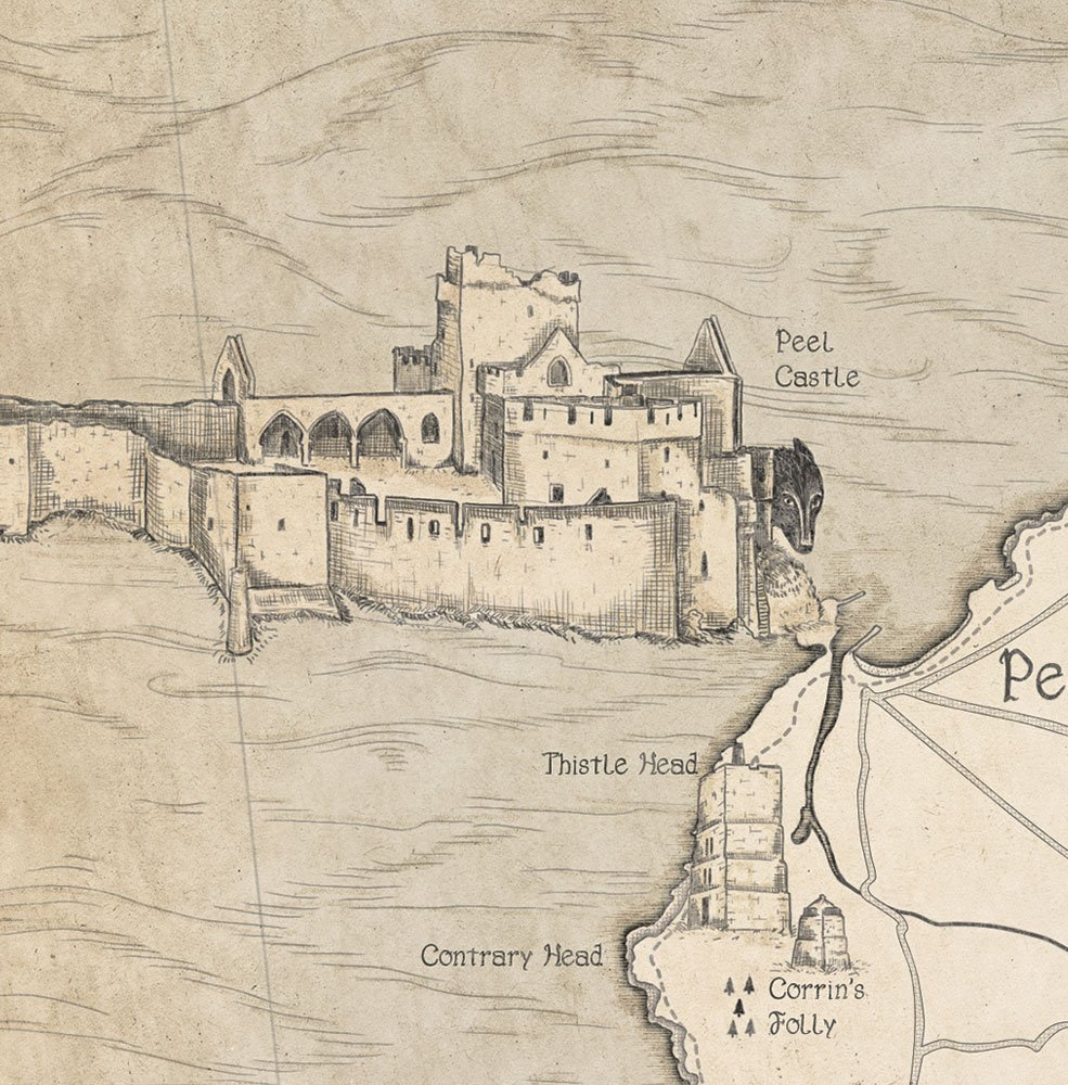 Illustration of the moddey dhoo and Peel castle on the map of the Isle of Man.