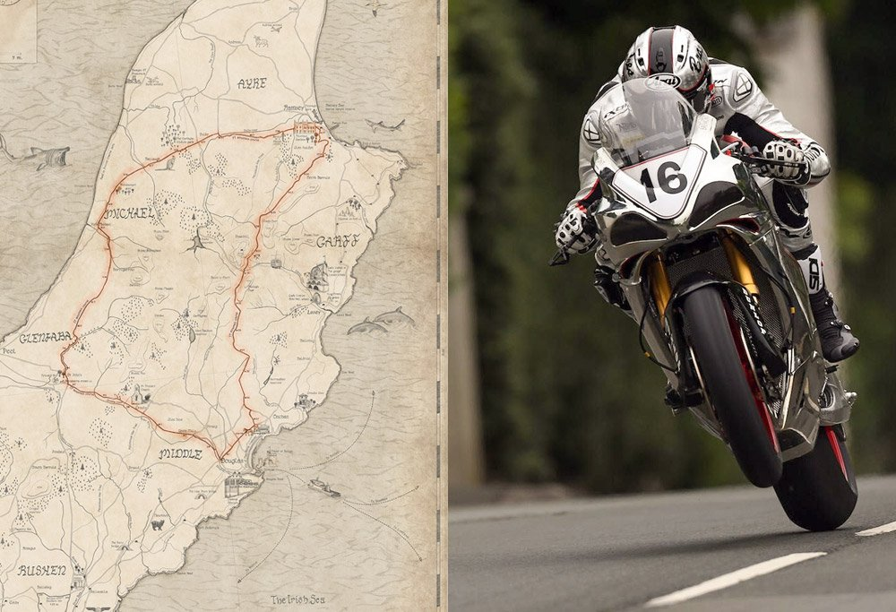 TT course on the map of the Isle of Man.