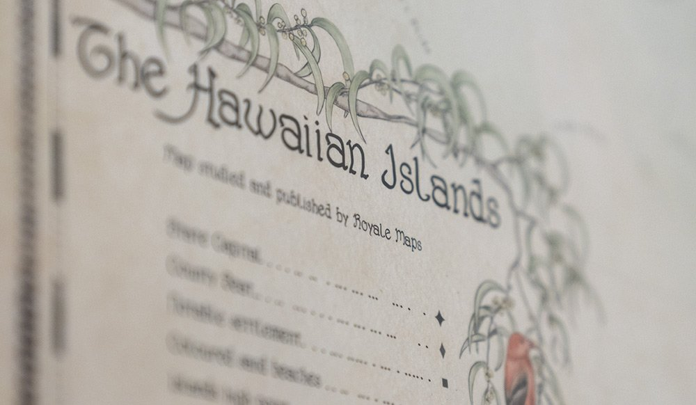 The Hawaiian islands map print