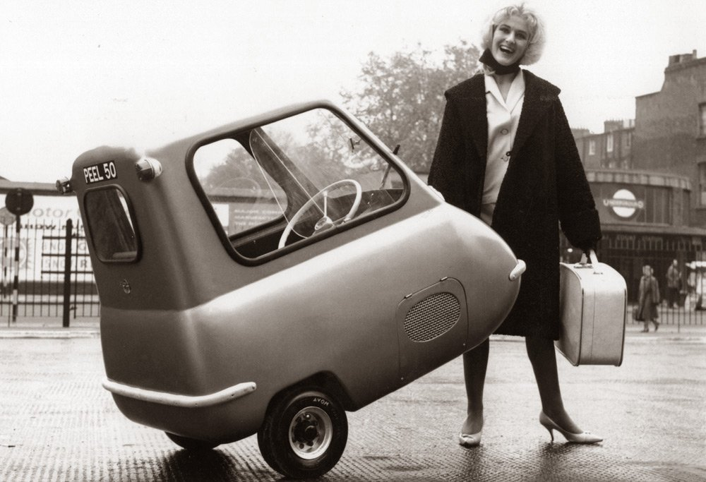 Old picture of the P50 smallest car in the world from the Isle of Man.