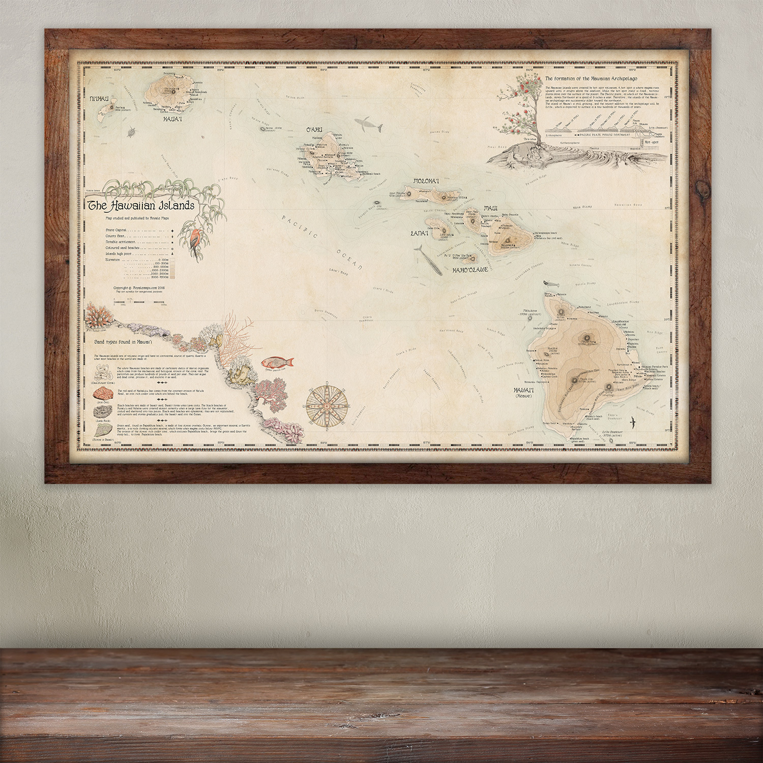 buy Hawaii wall map