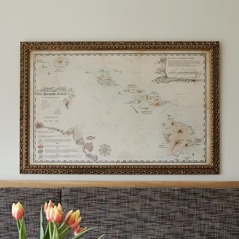 framed hawaii wall map interior design