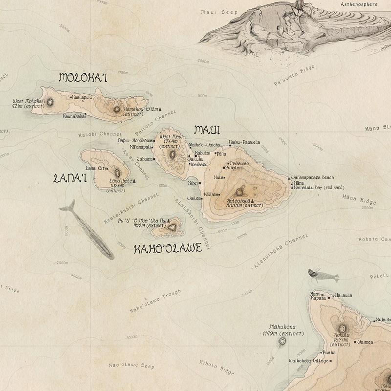 Hawaii-wall-map-gift