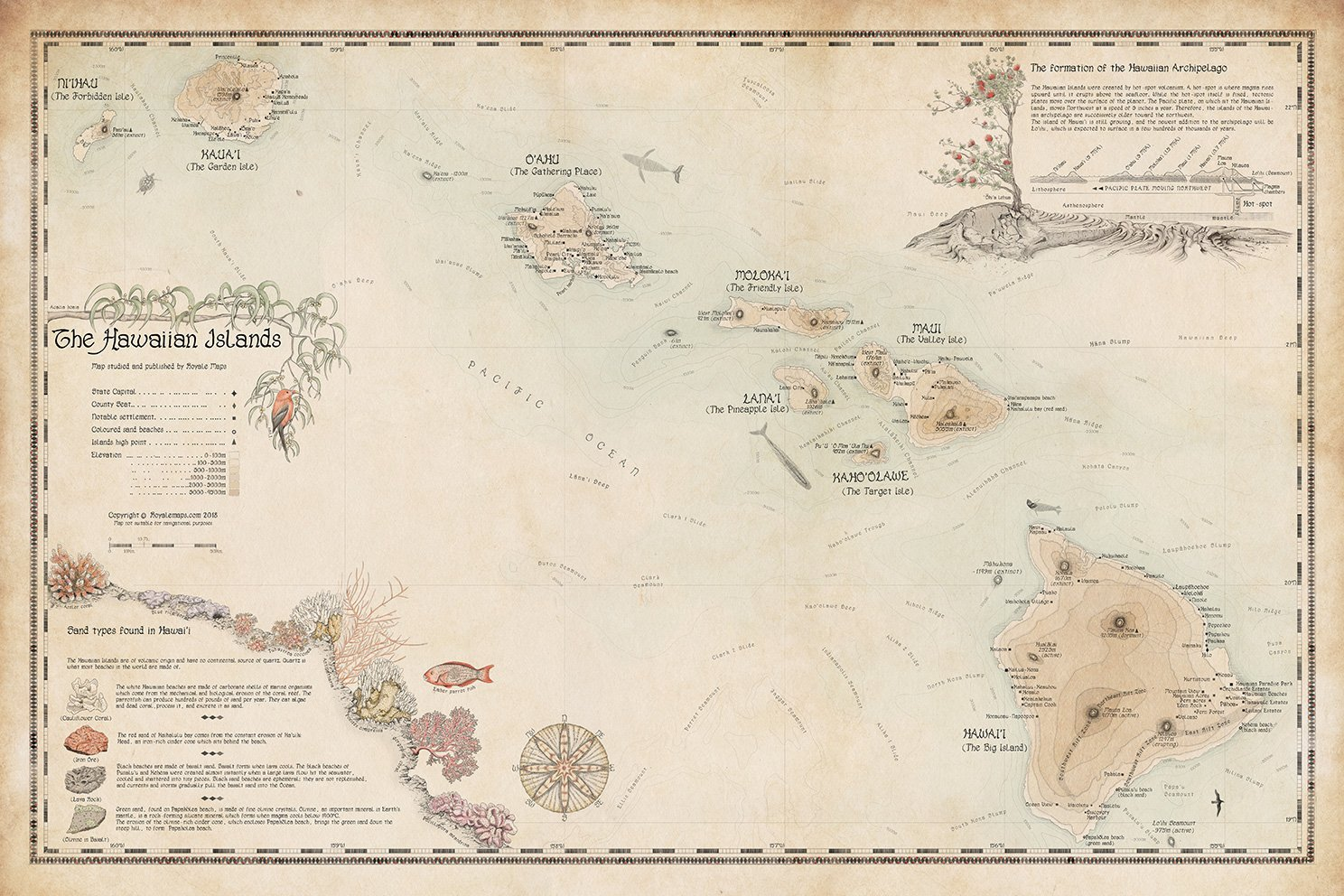 Hawaiian Islands Map Print