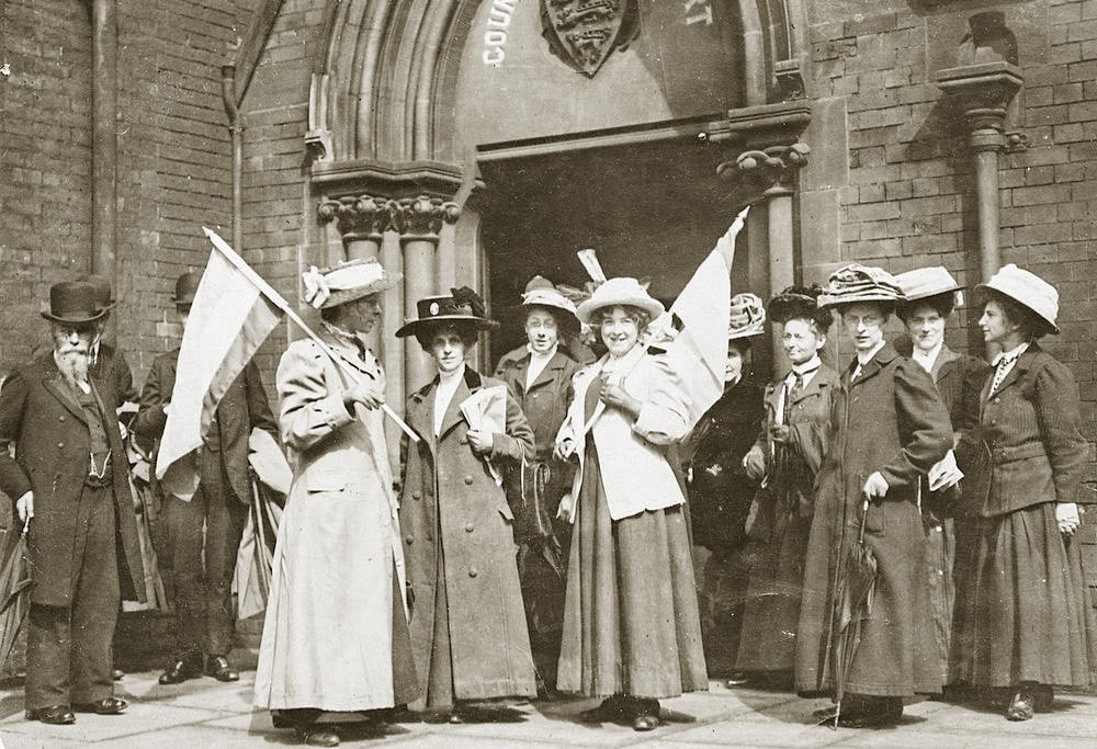 Group of women getting the right to vote on the Isle of Man.