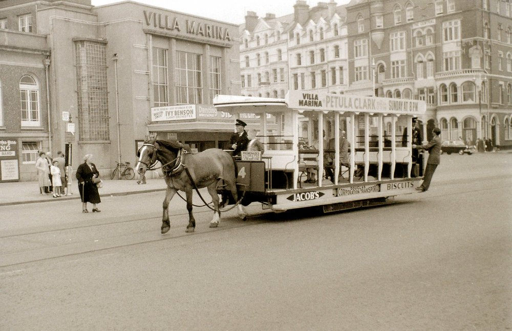 Old picture of Horse-drawn passenger tramway on the Isle of Man.