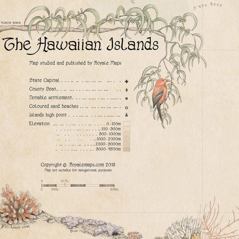 Ornamental Map of Hawaiian Islands - Vintage Style
