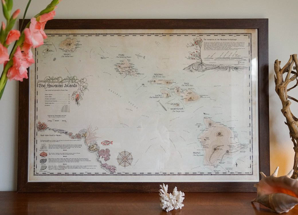 beautiful retro map of hawaii