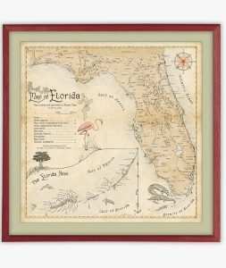 retro Map of Florida poster print