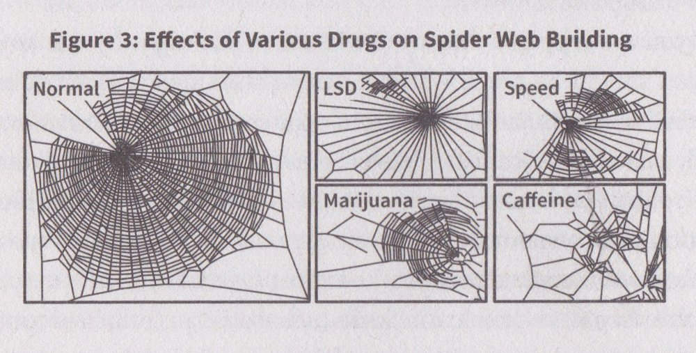 the effects of caffeine and various drugs observed on spiders through spider-web building