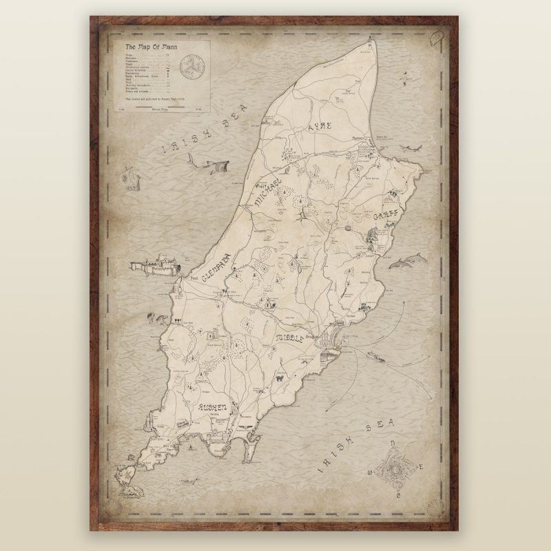 Large Isle of Man wall map