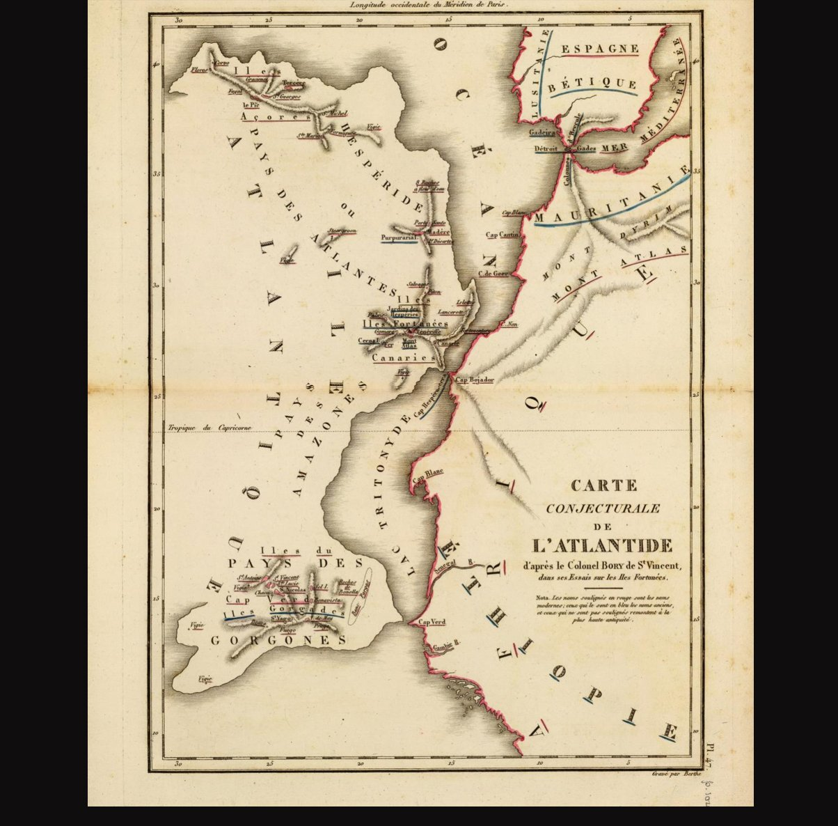 Original map of Atlantis dated 1803