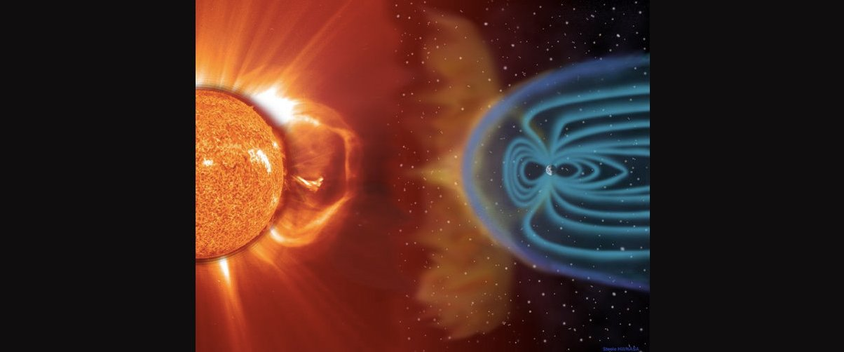 sun particle hit earth magnetic field
