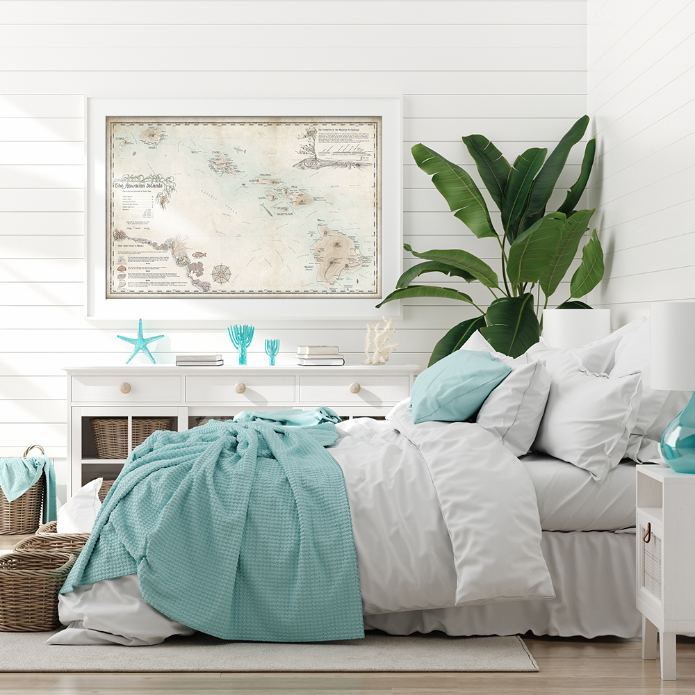 seaside coastal bedroom design and framed map by Royale Maps