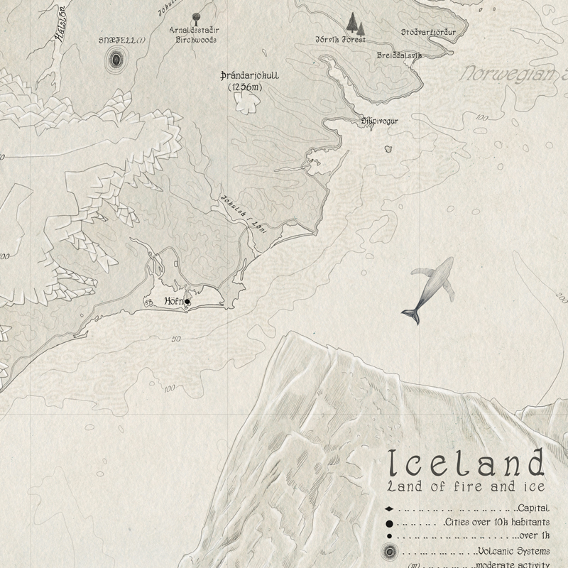 Beautiful old map of Iceland