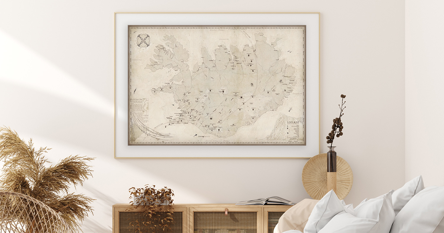 Coastal beige bedroom idea art map print by Royale Maps