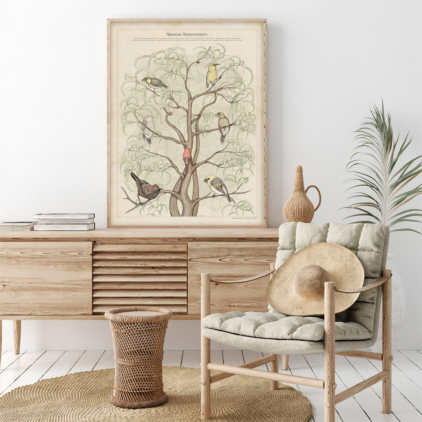 coastal hawaii bird print interior design