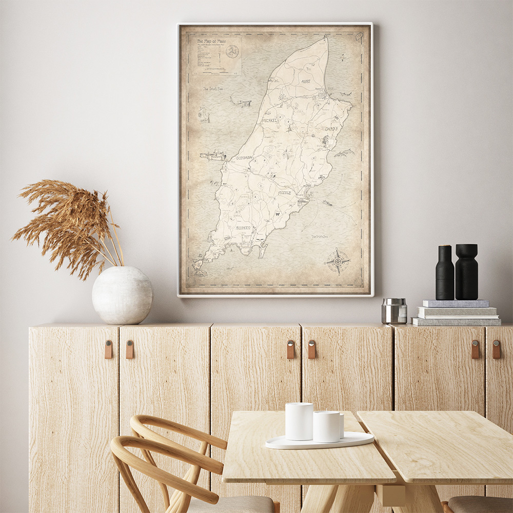 coastal dining interior with map from Royal Maps