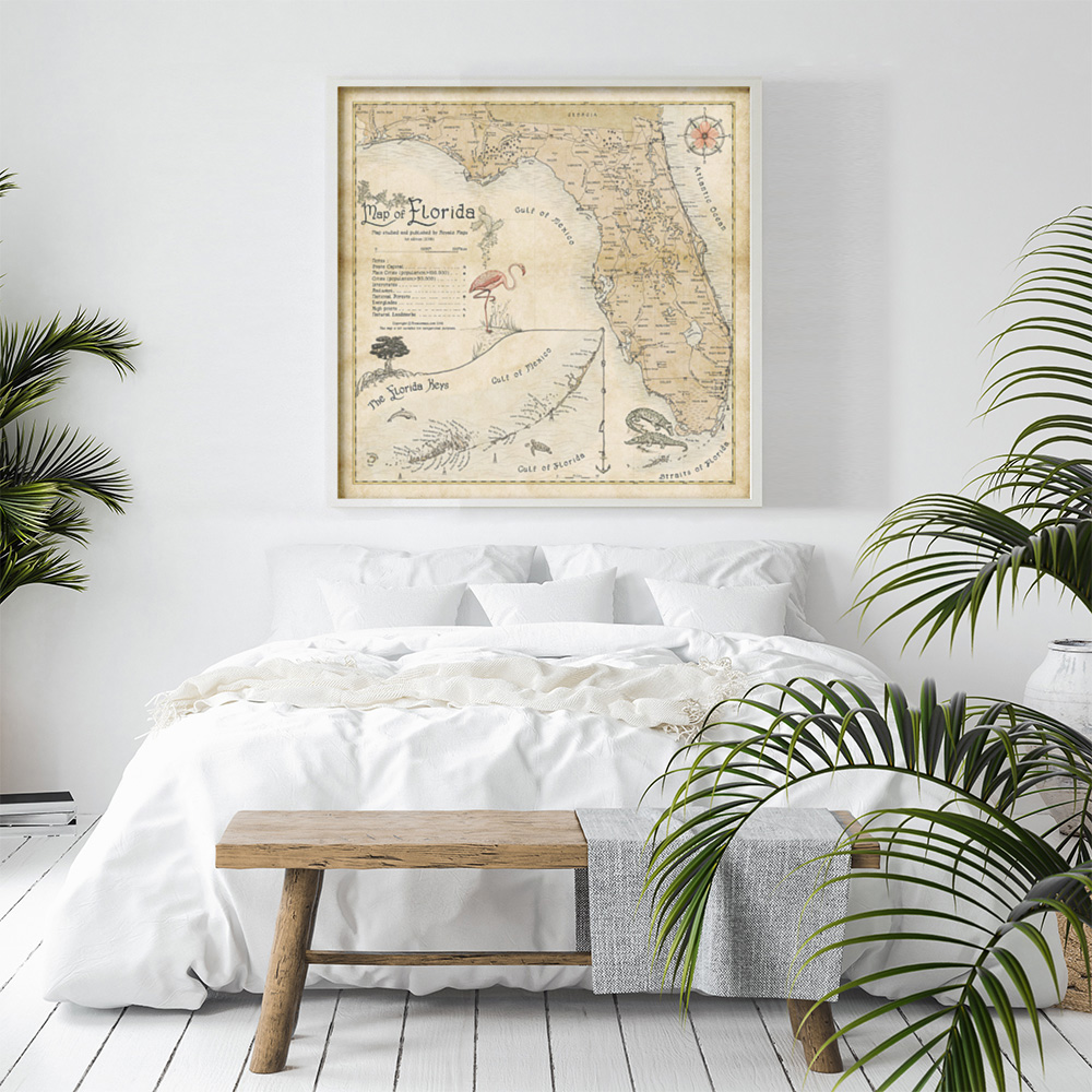 Coastal Florida interior bedroom design map print