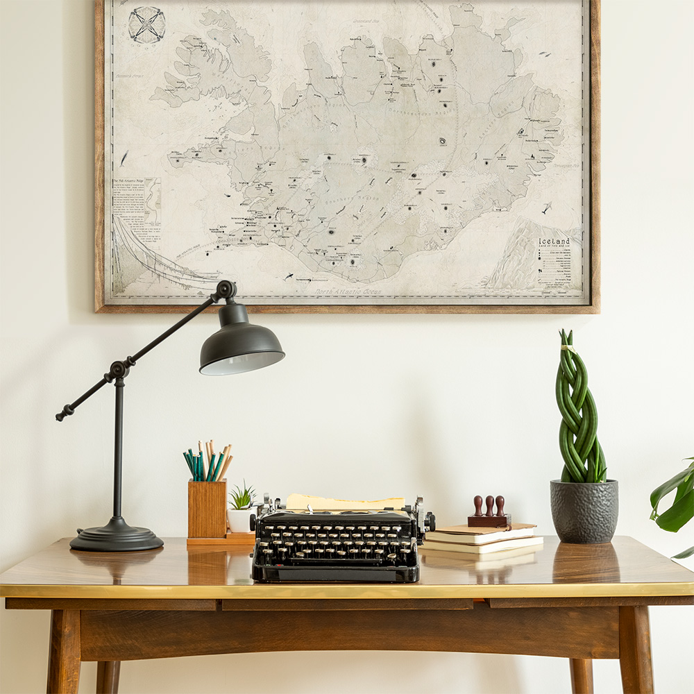coastal office interior with map from royale maps