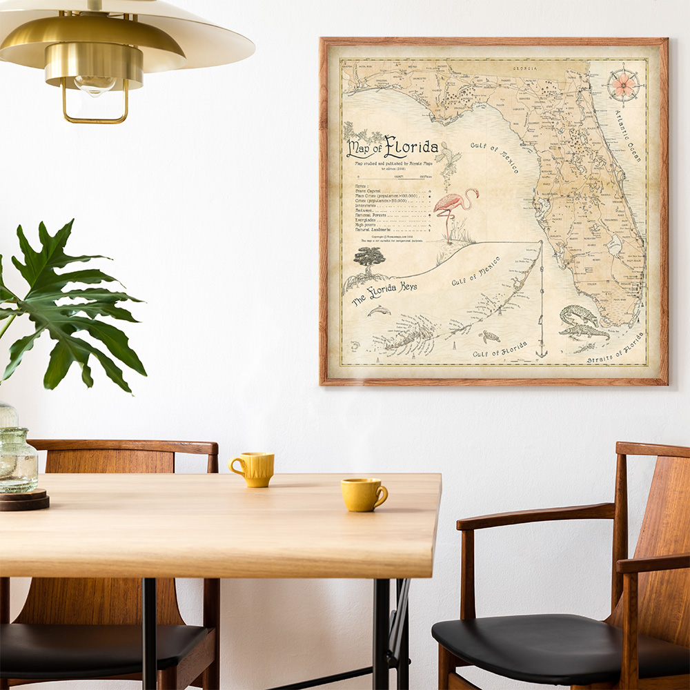 coastal teak dining room art map