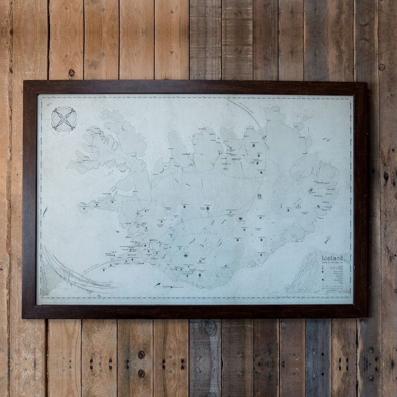 wall map of iceland