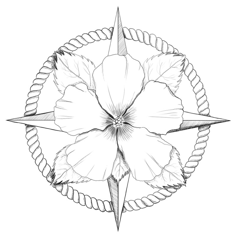 Florida state map compass design