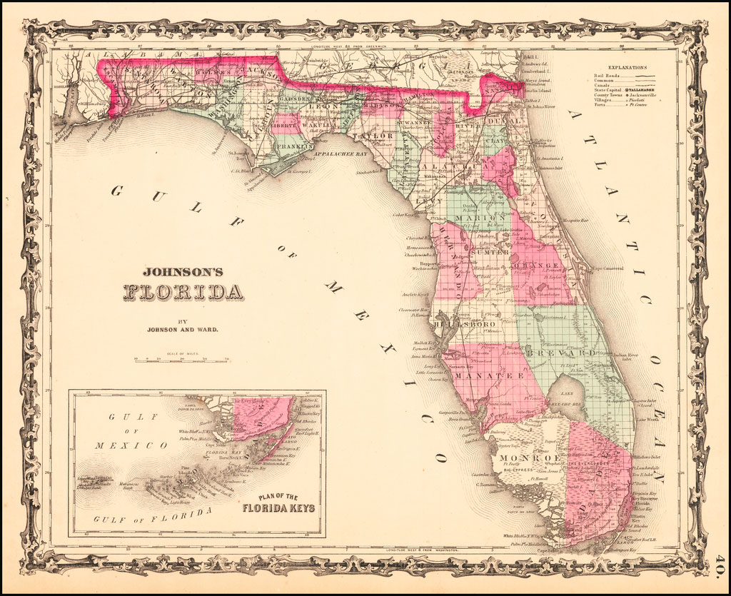 Map layout that zooms into the Florida Keys.