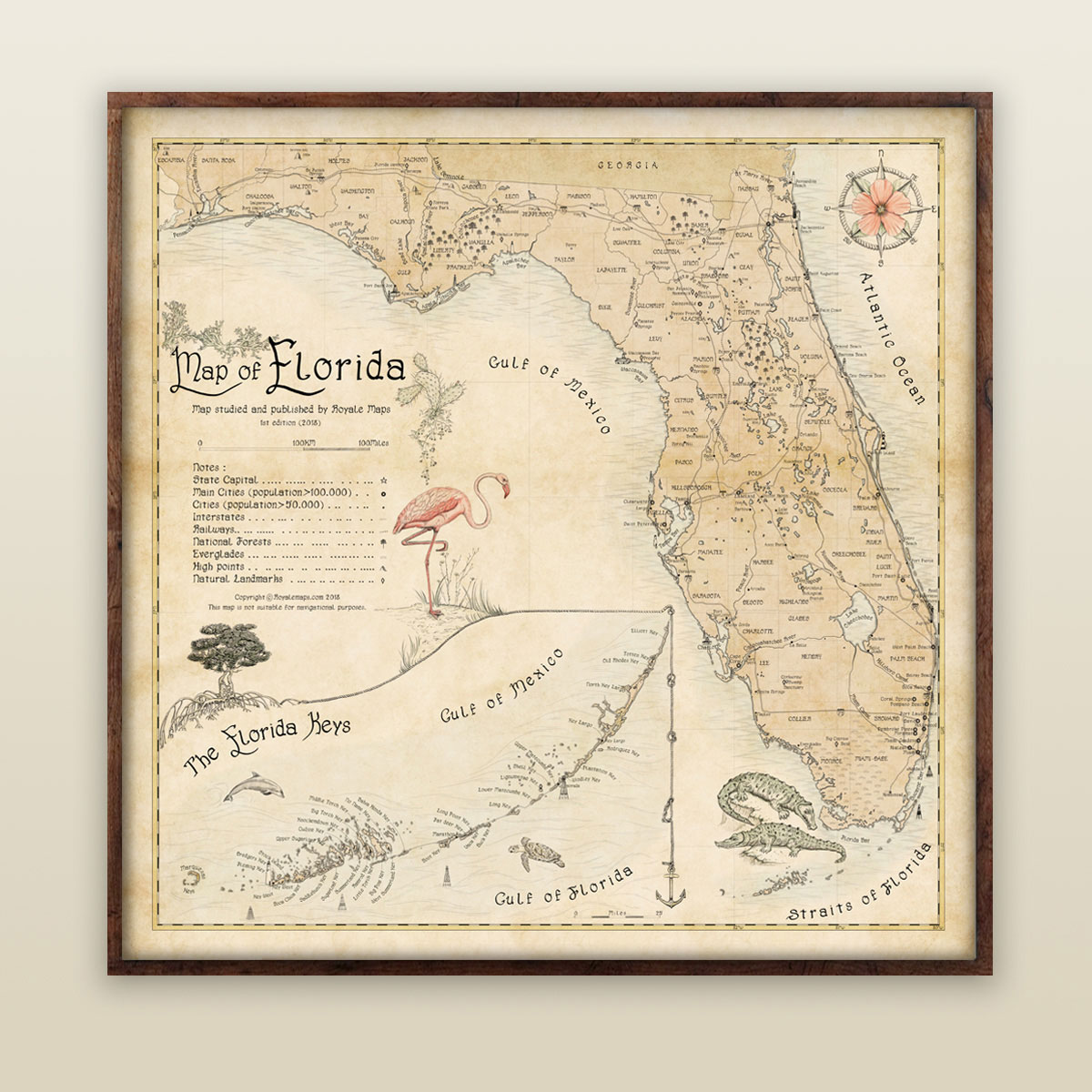 Map of Florida with Keys