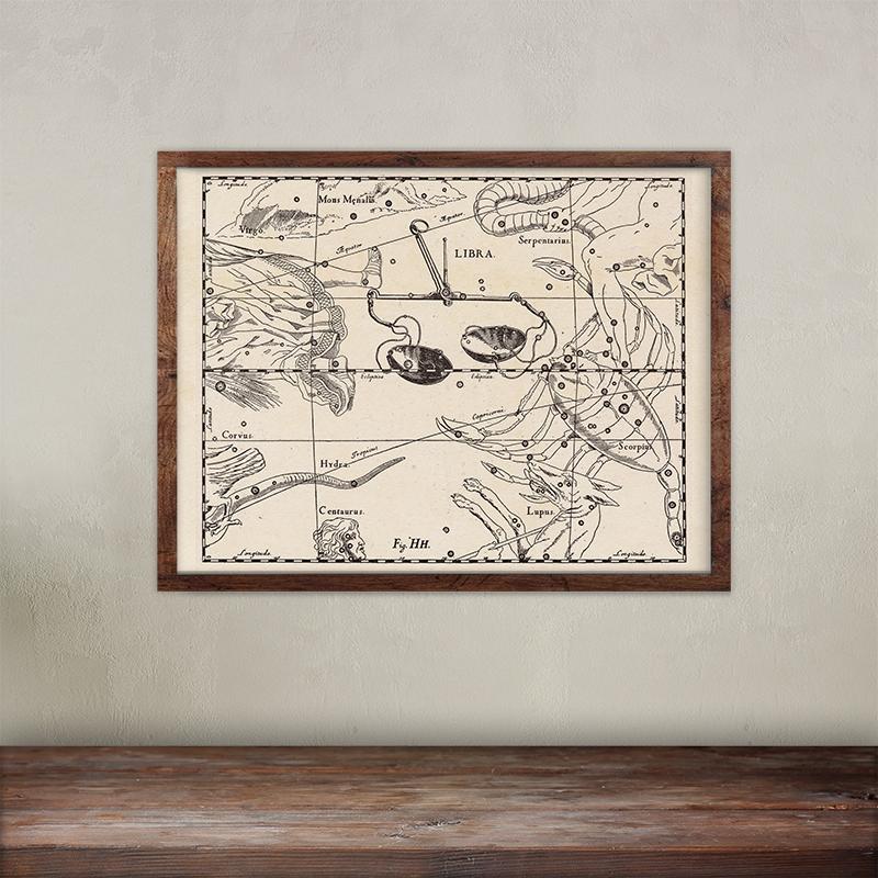 Buy Johannes Hevelius constellations of Libra map print.