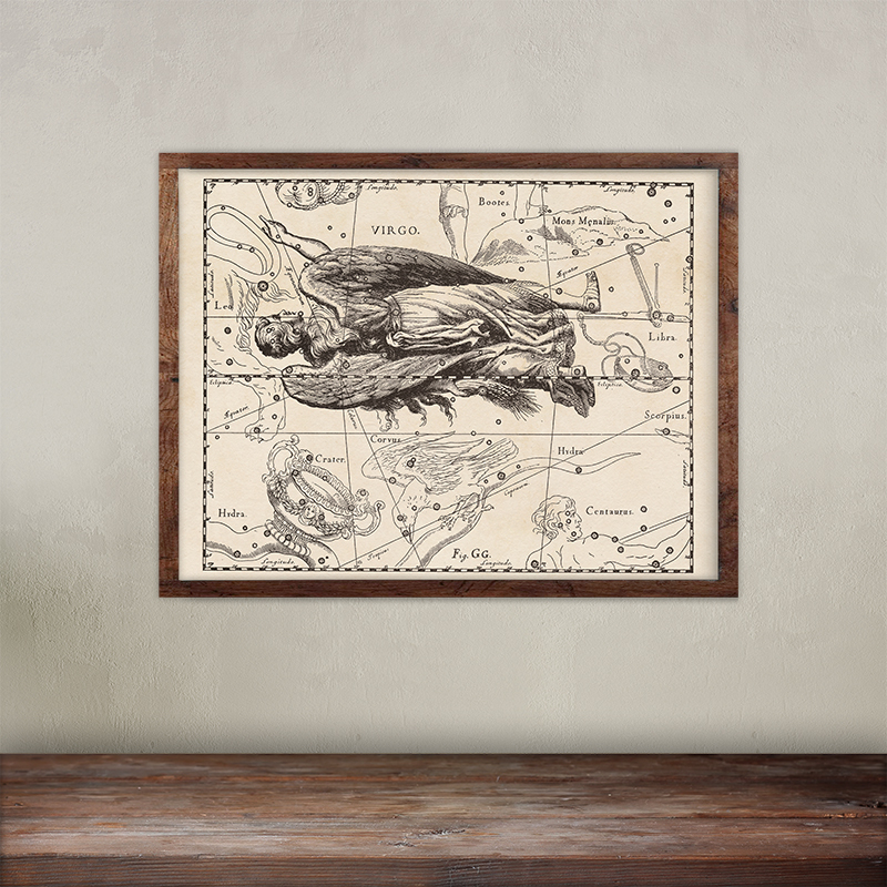 Buy Johannes Hevelius constellations of Virgo map print.