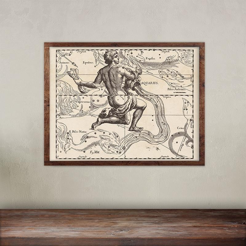 Buy Johannes Hevelius constellations of Aquarius map print. Giclée printing on 200 gsm paper.