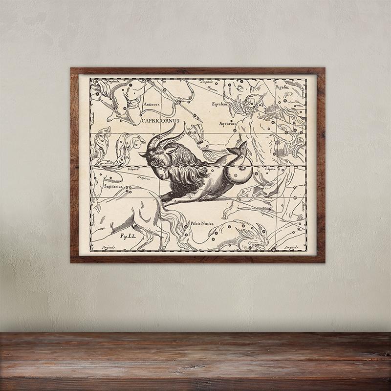Buy Johannes Hevelius constellations of Capricornus map print.