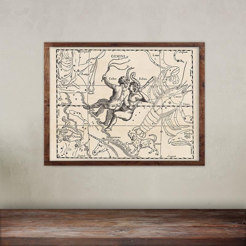Buy Johannes Hevelius constellations of Gemini map print.