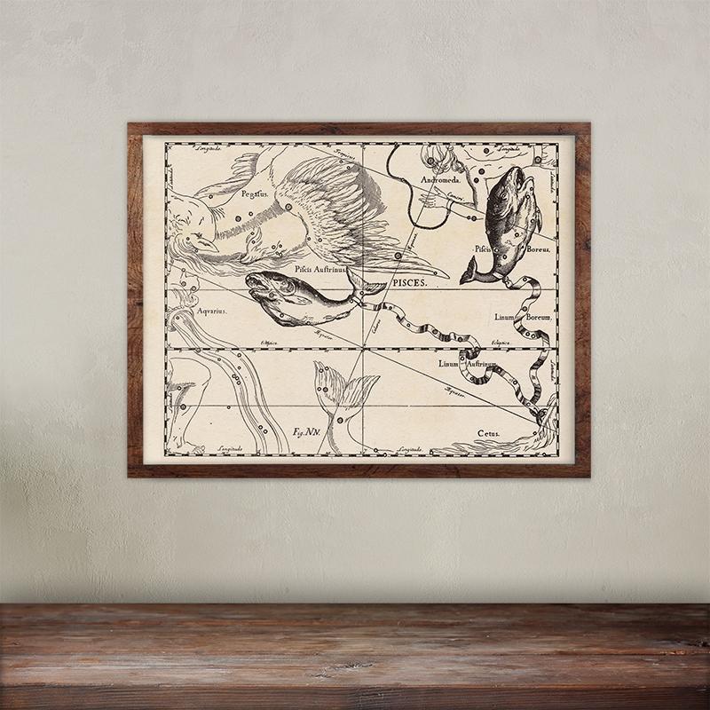 Buy Johannes Hevelius constellations of Pisces map print.