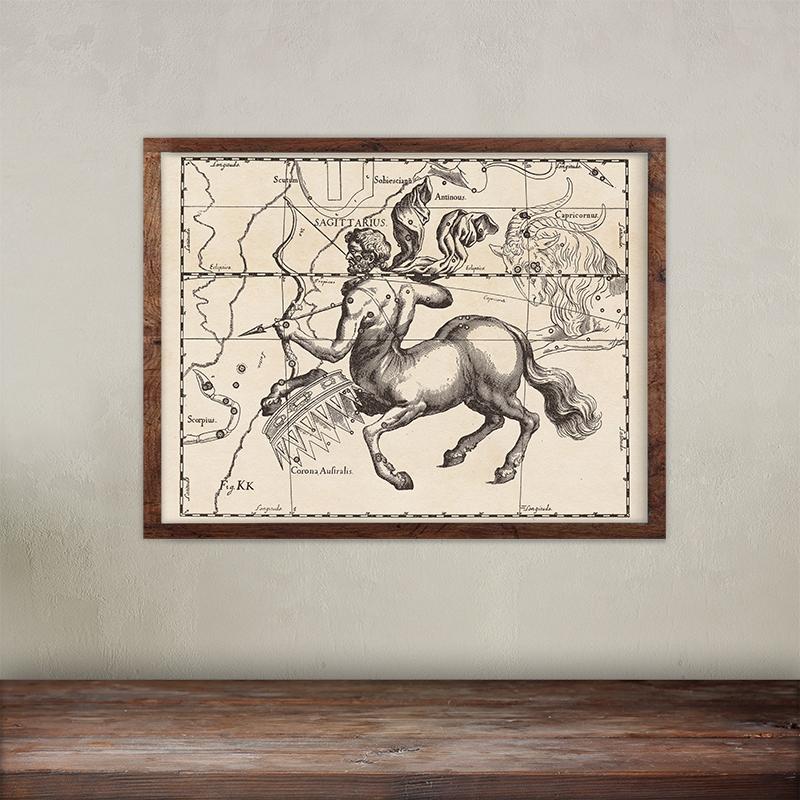 Buy Johannes Hevelius constellations of Sagitarius map print. Giclée printing on 200 gsm paper.