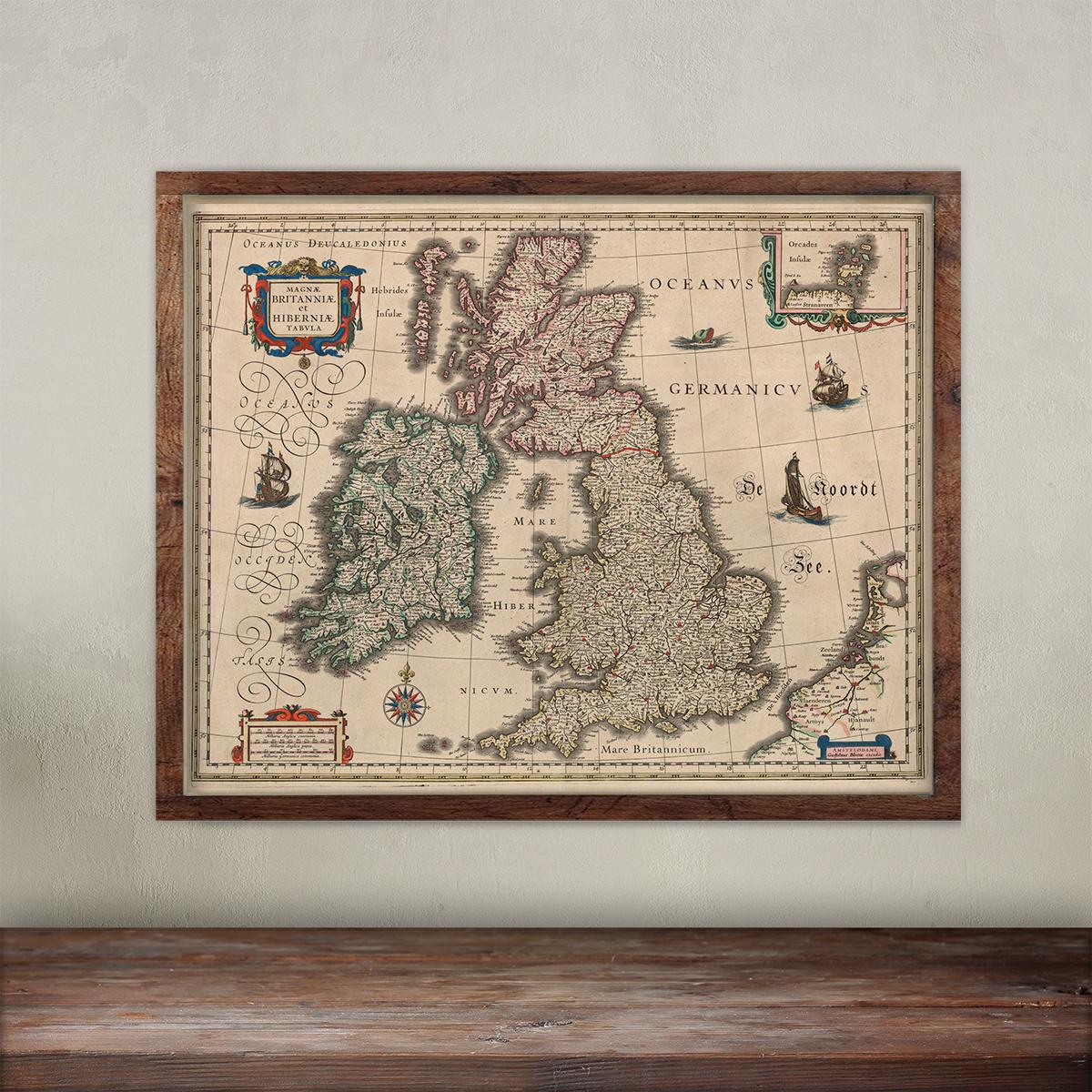 Willem Blaeu wall decorative Map of England print.