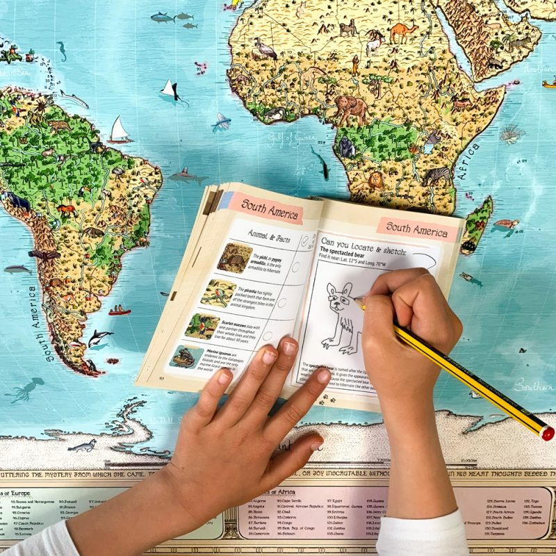 Best activity fun world map for kids with activity notebook.