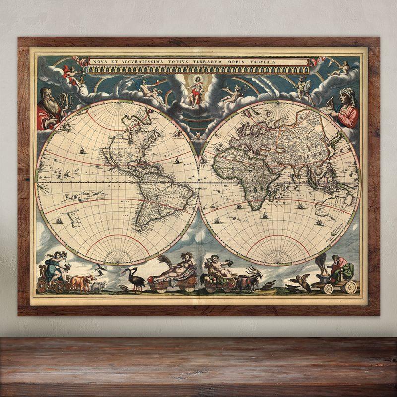 Buy Blaeu World Wall map print - Joan Blaeu.