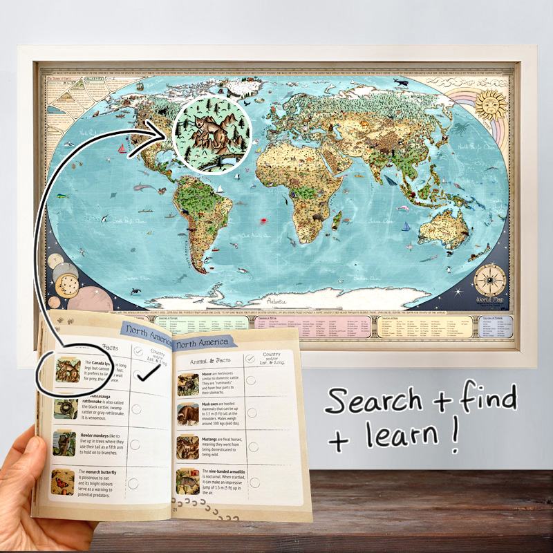 World map and activity book for children by Globe Spotter.