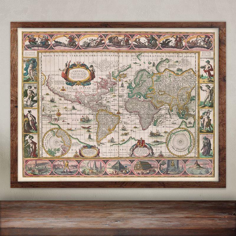 """Buy Willem Janz Blaeuw world wall map. 24x16""""."""