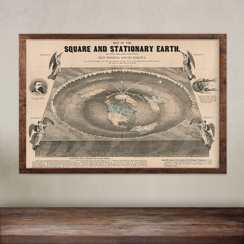 Buy Orlando Ferguson wall map of the Square and Stationary Earth. Free Shipping.