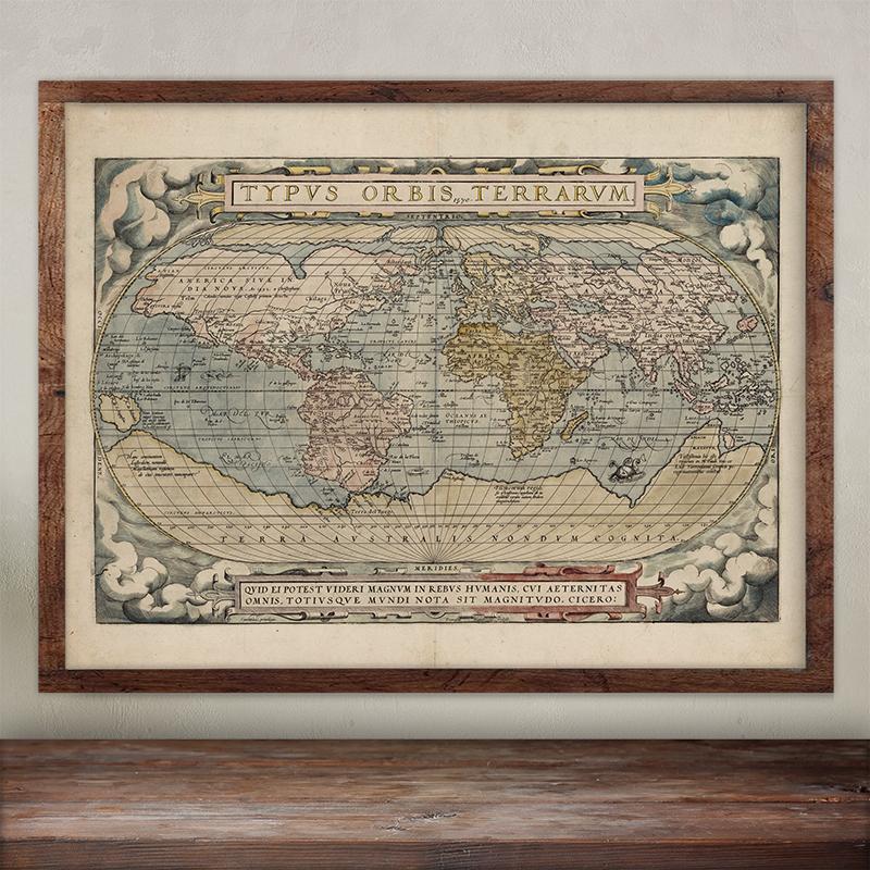 Buy Abraham Ortelius wall map print.