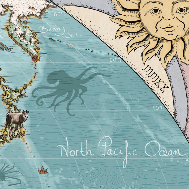 Best oceans and continent world map for kids with free animal spotting guide.