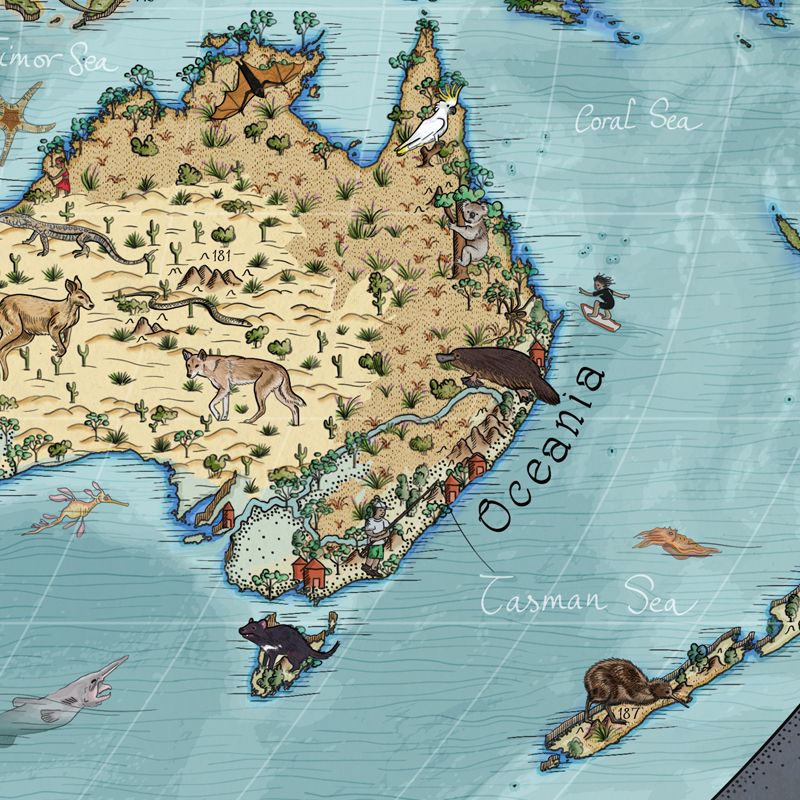 Best continents world map for kids with free animal spotting guide.