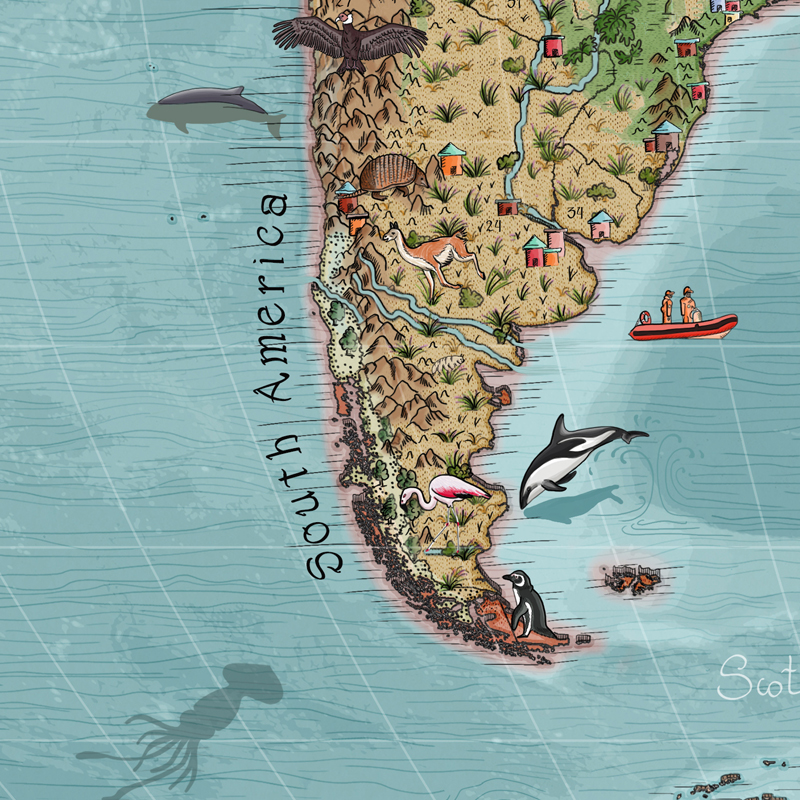 Oceans animal world map for kids with free animal spotting booklet.