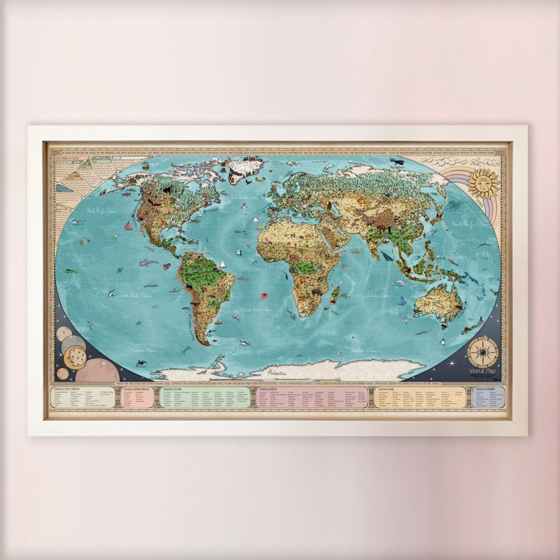Get the best animal world map for kids, with activity book to spot animals of the world.