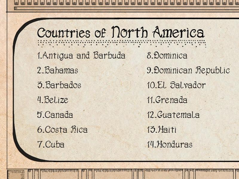 Children's world map countries cartouche.